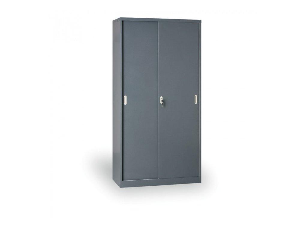 Kovová skříň s posuvnými dveřmi, 1990 x 1200 x 450 mm, tmavě šedá