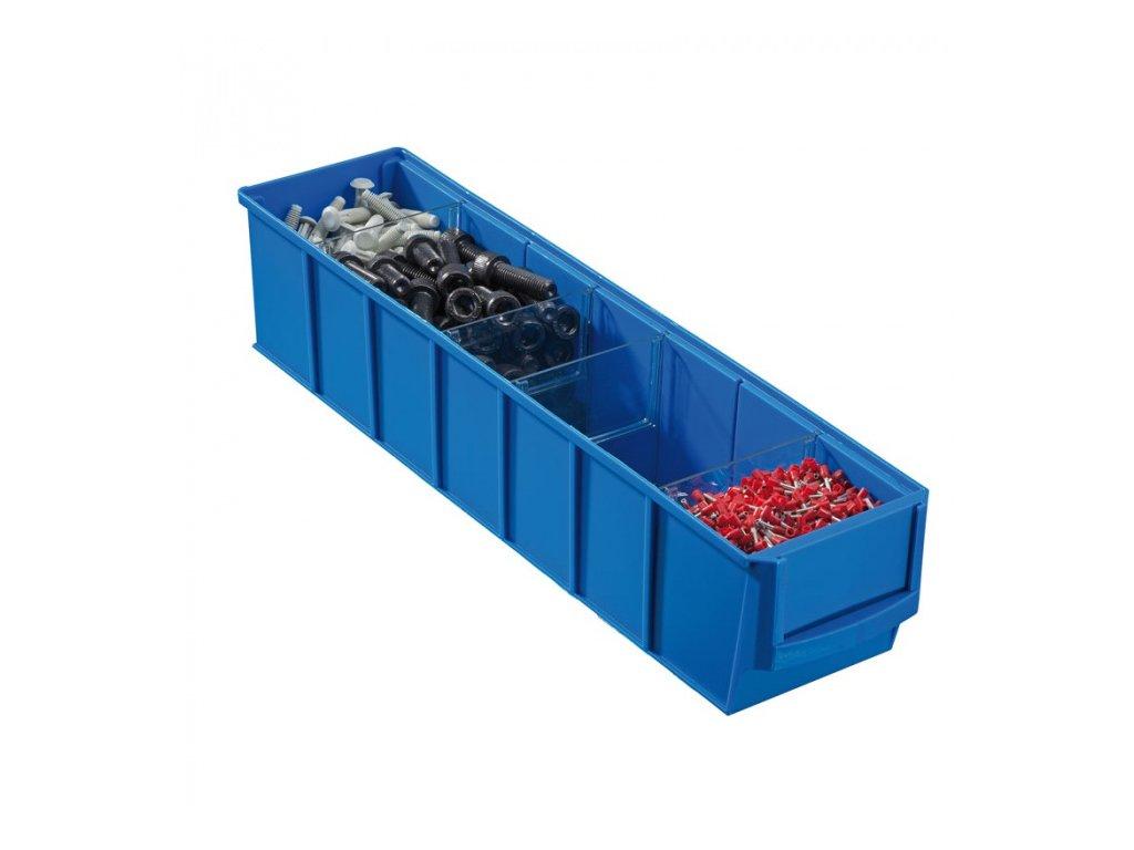 Plastový regálový box ShelfBox, 91 x 400 x 81 mm, modrý