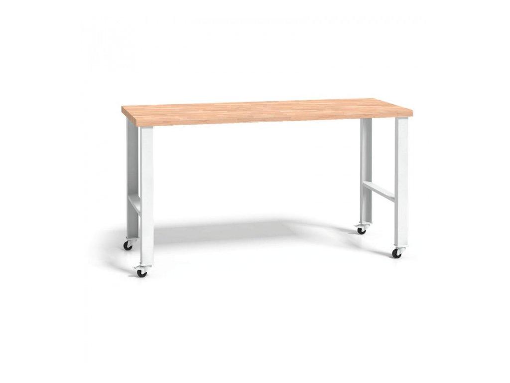 Dílenský stůl se dřevěnou pracovní deskou - s kolečky, 2000 mm