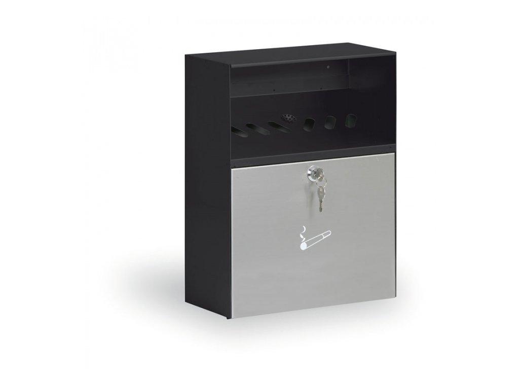 Nástěnný popelník se stříškou, černá/nerez