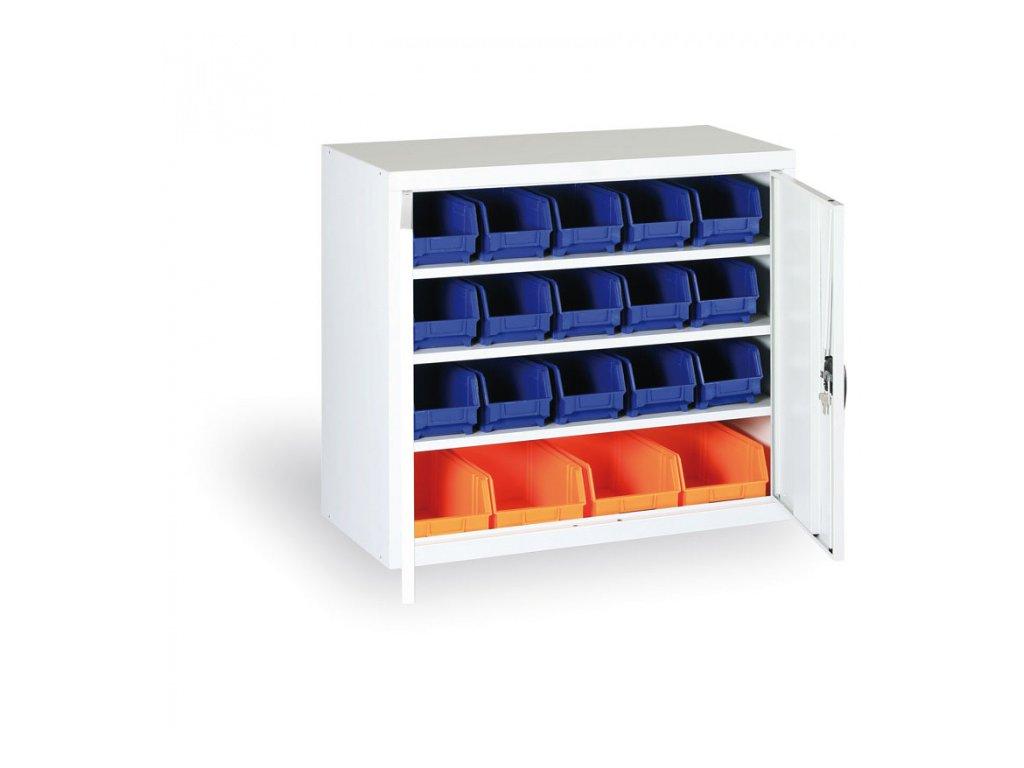 Skříň s plastovými boxy 800 x 920 x 400 mm, 18xB/4xC, šedá/šedé dveře