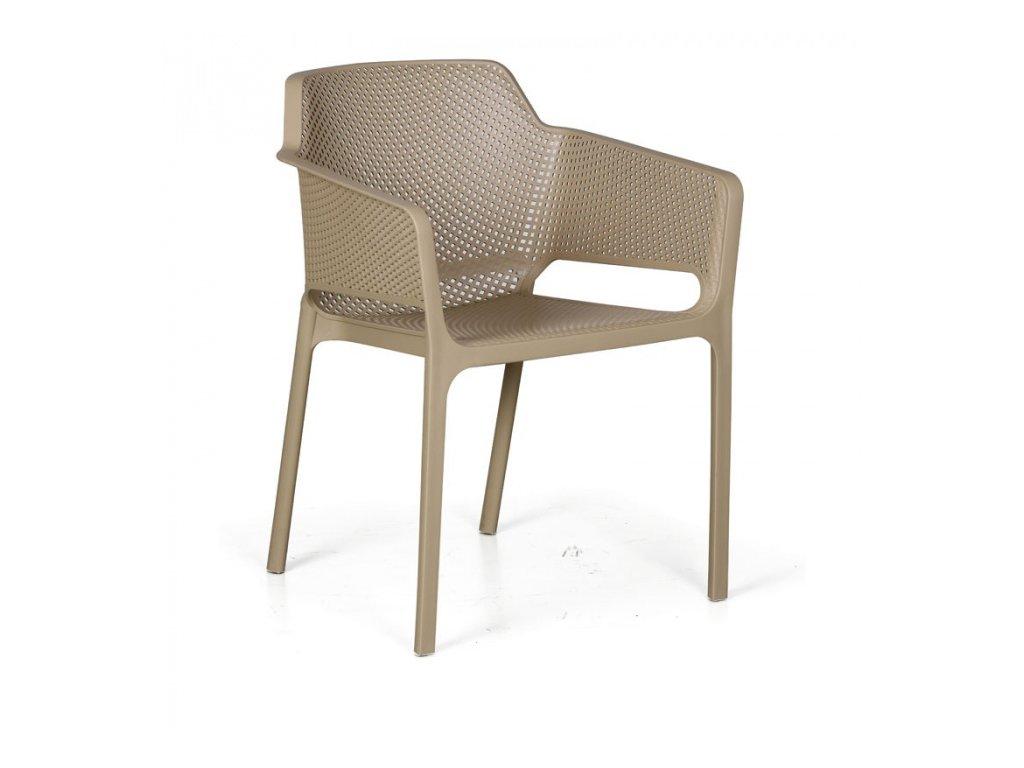 Plastová bistro židle RUSTIC, béžová, balení 4 ks