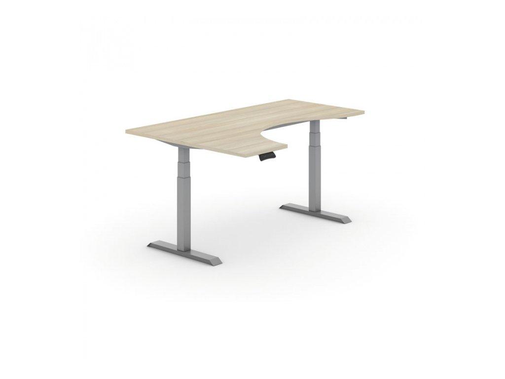 Výškově nastavitelný stůl, elektrický, ergonomický levý, 1800 x 1200 mm, dub