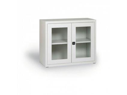Skříň s prosklenými dveřmi, 800 x 920 x 400 mm, šedá
