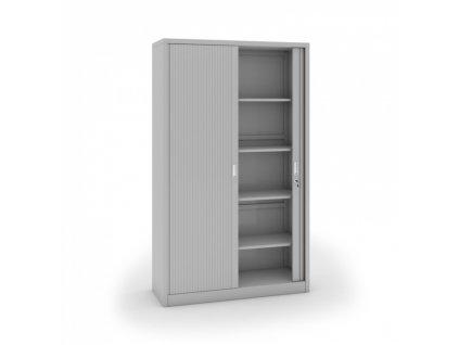 Kovová skříň se žaluziovými dveřmi, 1990 x 1200 x 450 mm, světle šedá