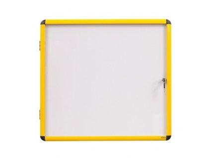 Vitrína s bílým magnetickým povrchem, žlutý rám, 720 x 674 mm (6xA4)