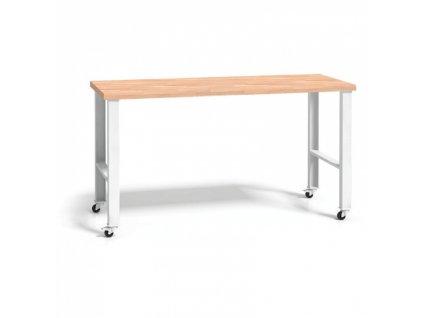 Dílenský stůl se dřevěnou pracovní deskou - s kolečky, 1700 mm