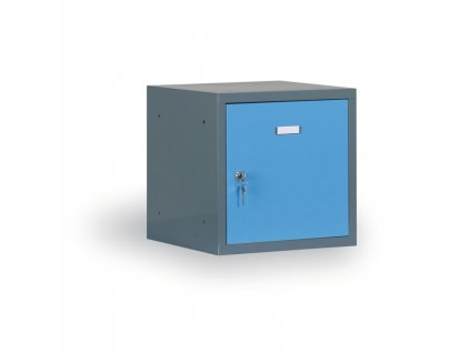 Šatní skříňka s uzamykatelným boxem 300x300x300 mm, antracitový korpus, modré dveře, cylindrický zámek