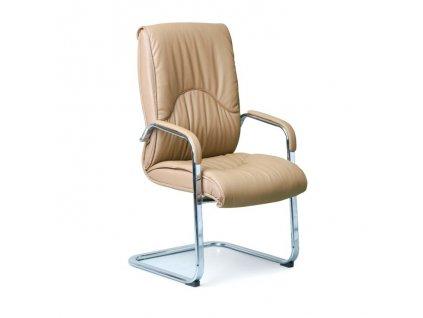 Konferenční / přísedící židle LUX, kožená, béžová