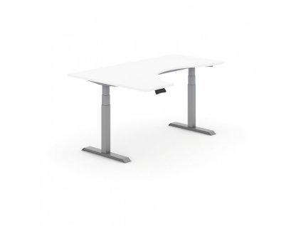 Výškově nastavitelný stůl, elektrický, ergonomický levý, 1800 x 1200 mm, bílá