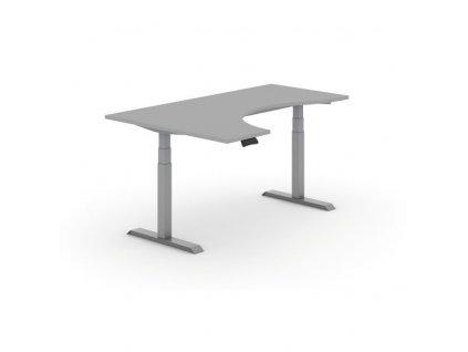 Výškově nastavitelný stůl, elektrický, ergonomický levý, 1800 x 1200 mm, šedá