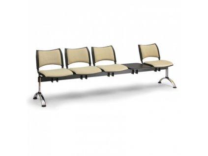 Čalouněná lavice do čekáren SMART, 4-sedák + stolek, černá, chromované nohy