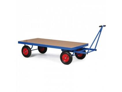 Plošinový vozík s ojí, plošina 2000x1000 mm, dušová kola