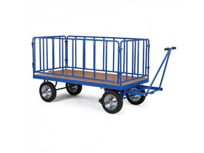 Plošinový vozík s ojí, mřížové bočnice, dušová kola