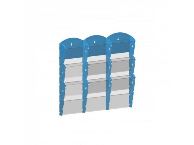 Nástěnný plastový zásobník na prospekty - 3 x 3 A4, modrý