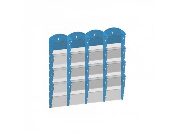 Nástěnný plastový zásobník na prospekty - 4 x 4 A4, modrý