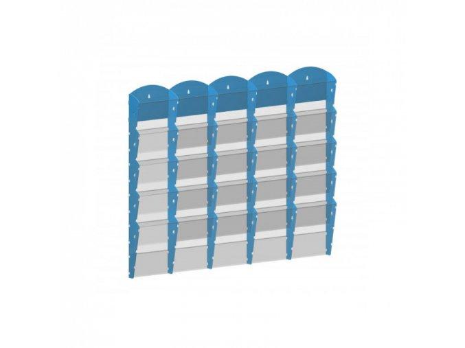 Nástěnný plastový zásobník na prospekty - 5 x 5 A4, modrý