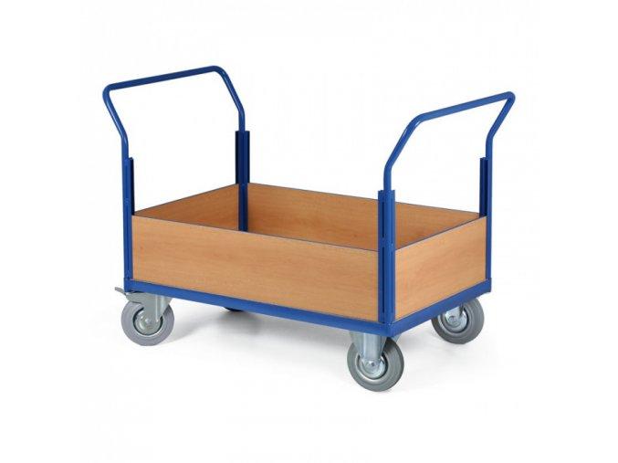 Plošinový vozík - 4 nízké výplně, 1200x800 mm, 500 kg