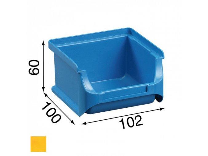 Plastové boxy PLUS 1, 102 x 100 x 60 mm, žluté, 30 ks