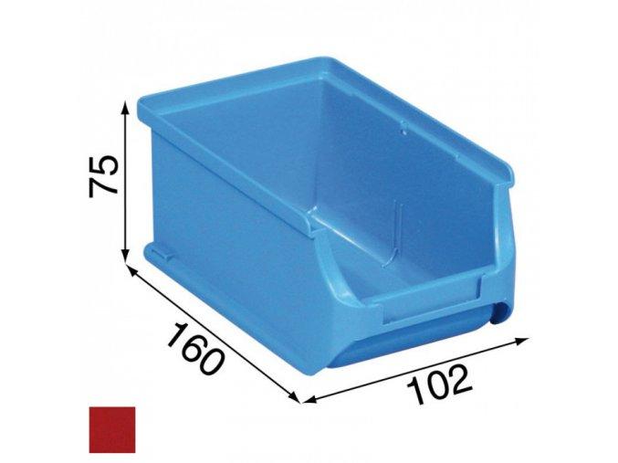 Plastové boxy PLUS 2, 102 x 160 x 75 mm, červené, 24 ks