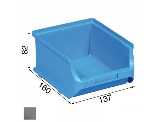 Plastové boxy PLUS 2B, 137 x 160 x 82 mm, šedé, 20 ks
