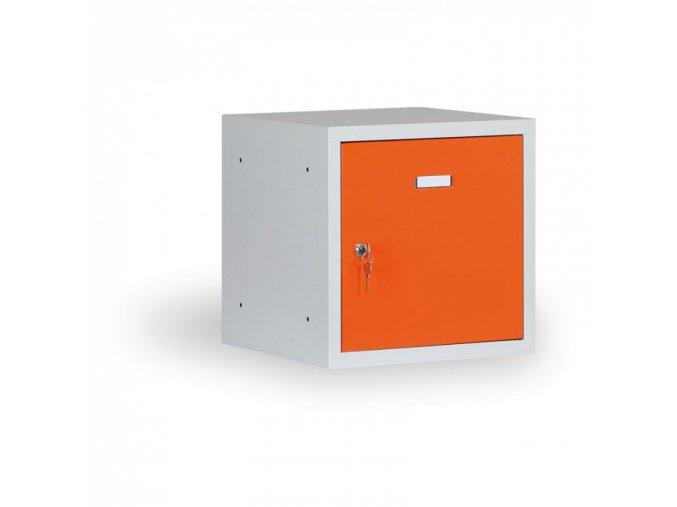 Šatní skříňka s uzamykatelným boxem 300x300x300 mm, oranžové dveře, cylindrický zámek
