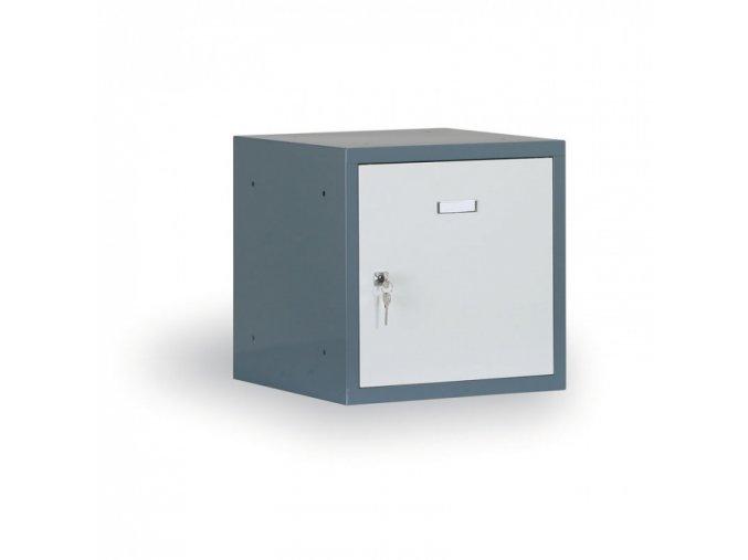 Šatní skříňka s uzamykatelným boxem 300x300x300 mm, antracitový korpus, šedé dveře, cylindrický zámek