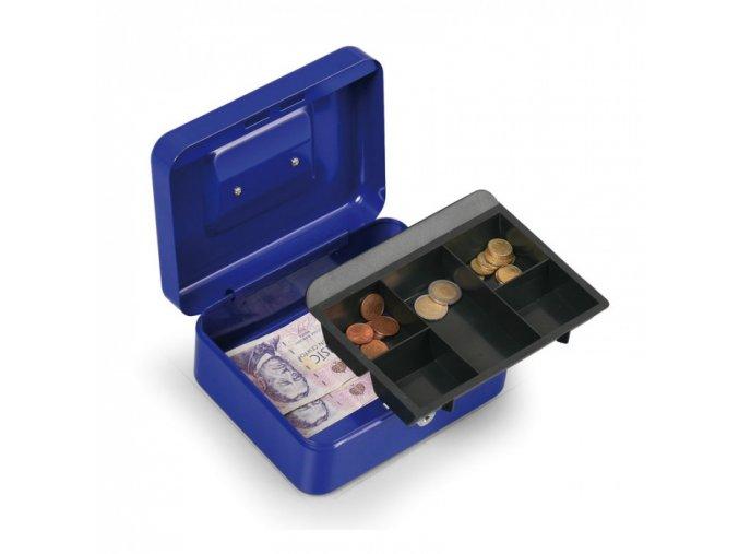 Přenosná pokladna, 90 x 200 x 160 mm, modrá