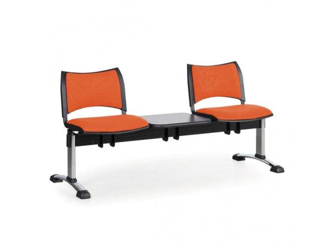 Čalouněné lavice do čekáren SMART, 2-sedák + stolek, oranžová, chromované nohy