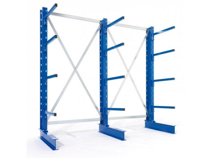 Konzolový regál, jednostranný, 250 kg, 2500 x 1330 x 1030 mm, přístavný