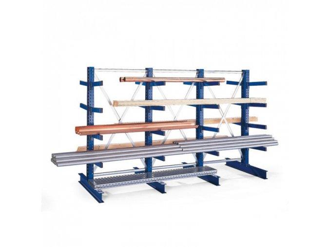 Konzolový regál, oboustranný, 250 kg, 2500 x 1330 x 1030 mm, přístavný
