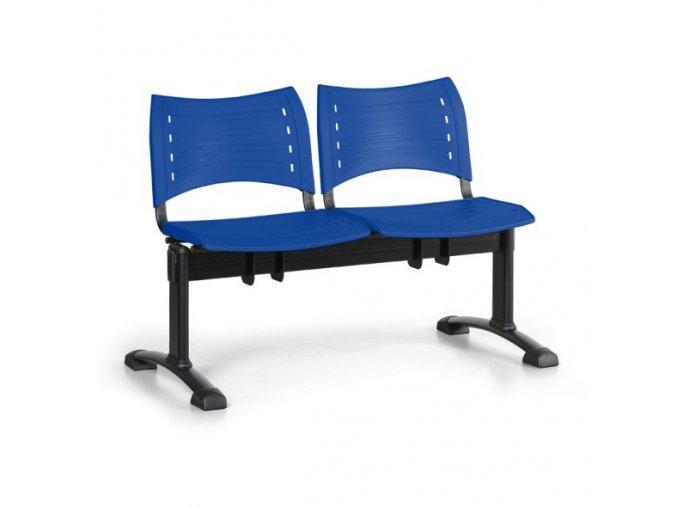Plastová lavice do čekáren VISIO, 2-sedák, modrá, černé nohy