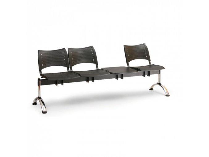 Plastová lavice do čekáren VISIO, 3-sedák, se stolkem, modrá, chromované nohy