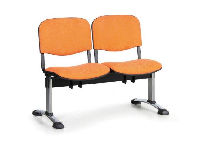Čalouněná lavice do čekáren VIVA, 2-sedák, oranžová, chromované nohy