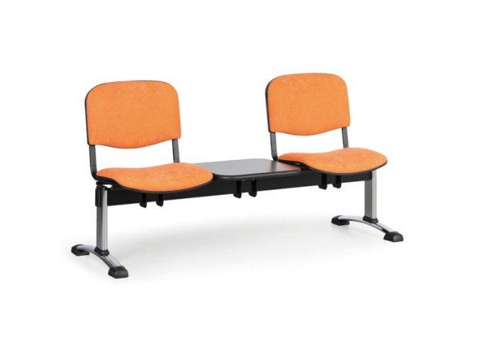 Čalouněná lavice do čekáren VIVA, 2-sedák, se stolkem, oranžová, chromované nohy