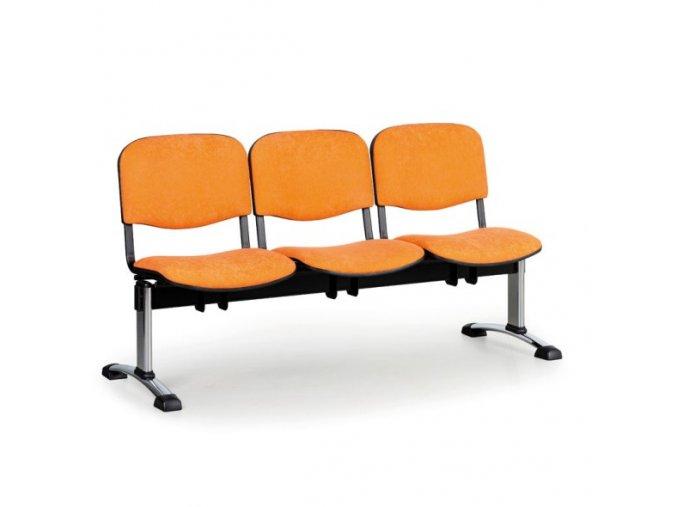Čalouněná lavice do čekáren VIVA, 3-sedák, oranžová, chromované nohy