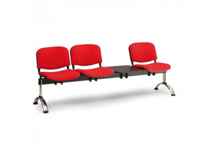 Čalouněná lavice do čekáren VIVA, 3-sedák, se stolkem, oranžová, chromované nohy