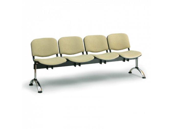 Čalouněná lavice do čekáren VIVA, 4-sedák, oranžová, chromované nohy
