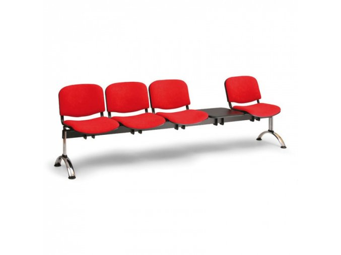 Čalouněná lavice do čekáren VIVA, 4-sedák, se stolkem, oranžová, chromované nohy