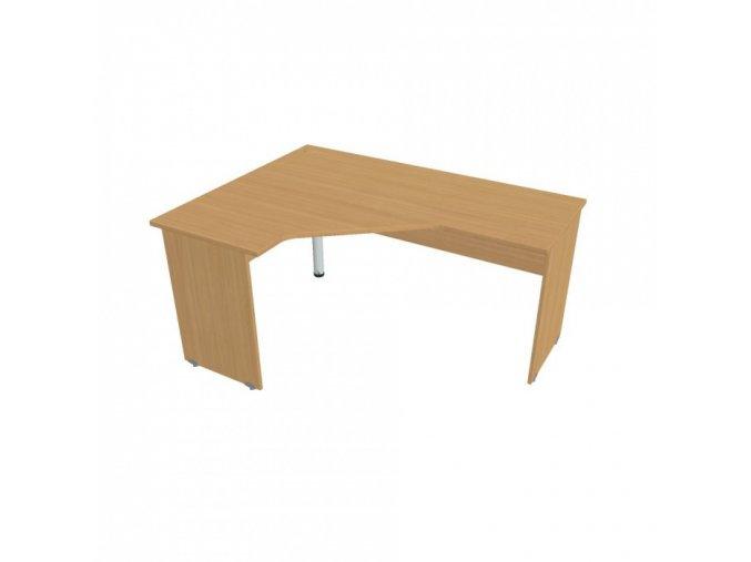 Rohový kancelářský psací stůl UNI, dřevěné nohy, 1600 x 1200 mm, pravý, buk