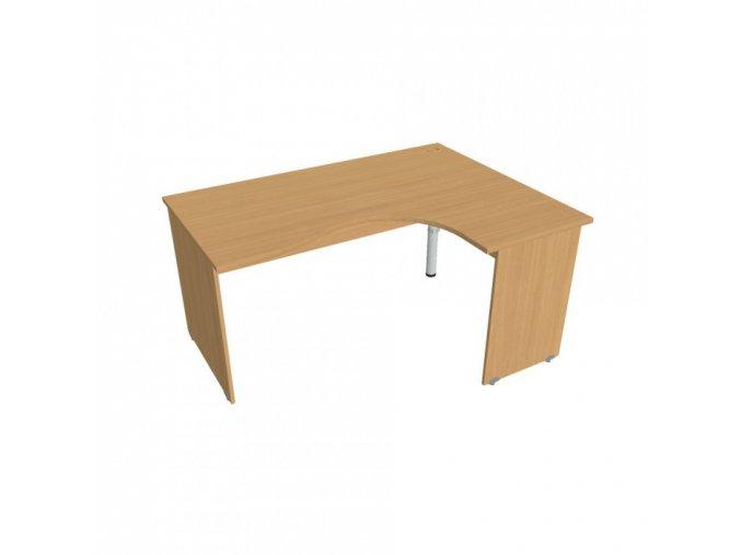 Rohový ergonomický kancelářský psací stůl UNI, dřevěné nohy, 1600 x 1200 mm, levý, buk