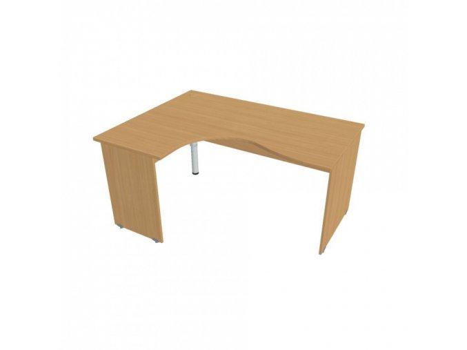 Rohový ergonomický kancelářský psací stůl UNI, dřevěné nohy, 1600 x 1200 mm, pravý, buk