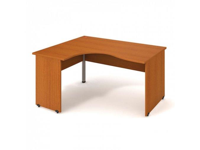 Rohový ergonomický kancelářský psací stůl UNI, dřevěné nohy, 1600 x 1200 mm, pravý, třešeň