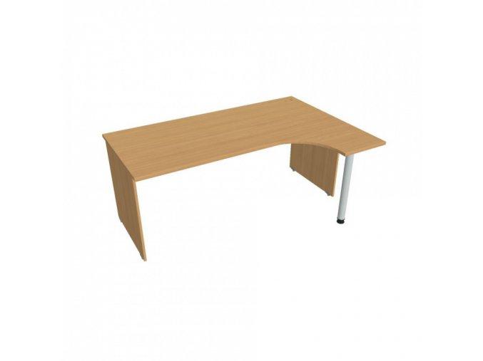 Rohový kancelářský psací stůl UNI, kovová noha, 1800 x 1200 mm, levý, buk