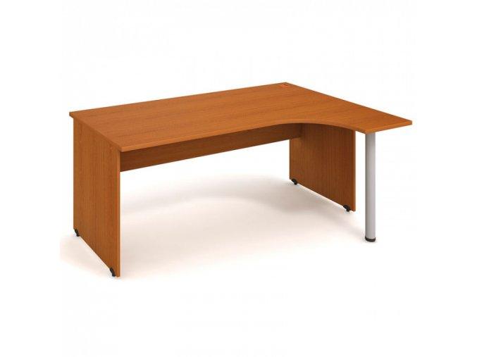 Rohový kancelářský psací stůl UNI, kovová noha, 1800 x 1200 mm, levý, třešeň