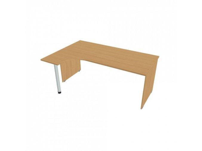 Ergonomický psací stůl UNI, 1800 x 1200 mm, dřevěné nohy, pravý, buk