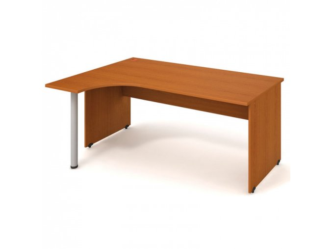 Ergonomický psací stůl UNI, 1800 x 1200 mm, dřevěné nohy, pravý, třešeň