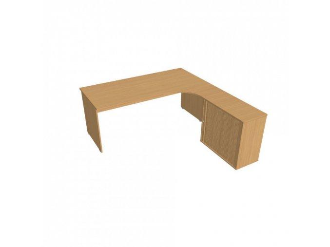 Rohový kancelářský psací stůl UNI se skříňkou, 1800 x 2000 mm, levý, buk
