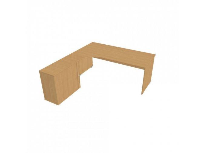 Rohový kancelářský psací stůl UNI se skříňkou, 1800 x 2000 mm, pravý, buk