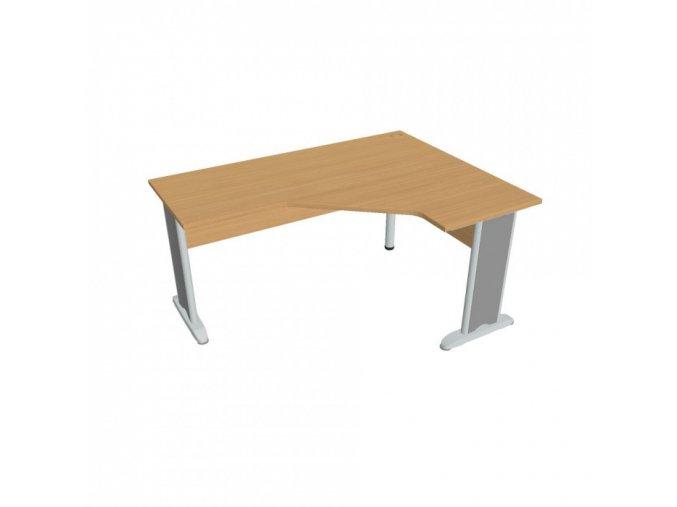 Rohový kancelářský psací stůl SELECT, kovové nohy, 1600 x 1200 mm, levý, buk